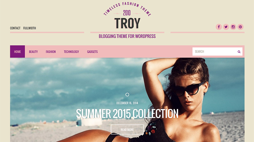 Screenshot of Blogging theme for WordPress Troy on Desktop