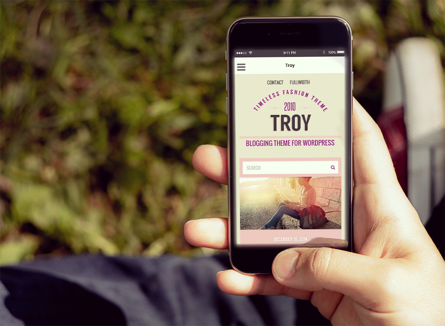 Screenshot of Blogging theme for WordPress Troy on Smartphone