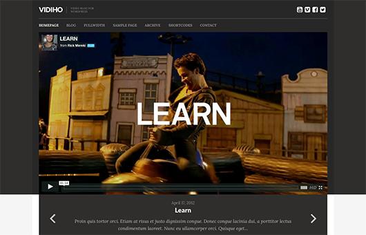 Screenshot of Video Blogging theme for WordPress Vidiho on Laptop