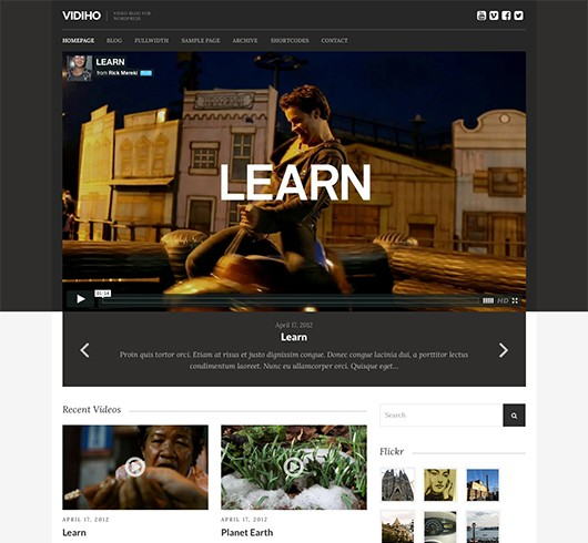 Screenshot of Video Blogging theme for WordPress Vidiho