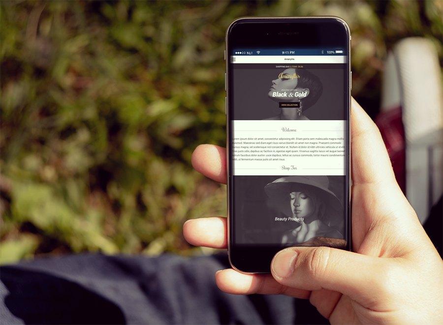 Screenshot of WooCommerce WordPress theme Amaryllis on Smartphone