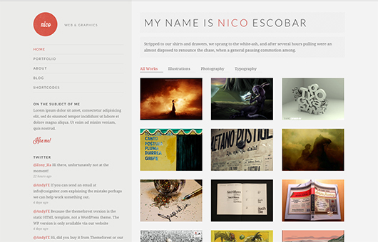 Screenshot of Potfolio theme for WordPress Nico on Laptop