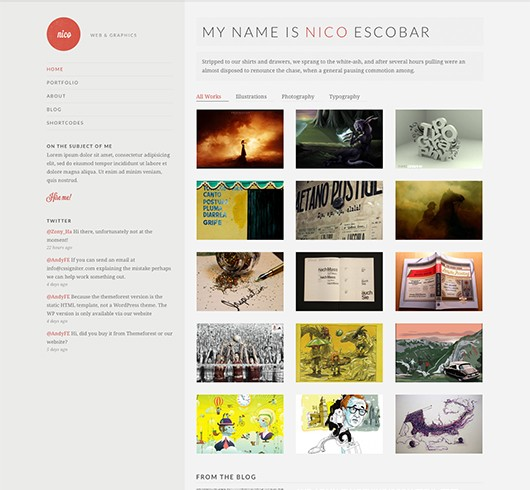 Screenshot of Potfolio theme for WordPress Nico