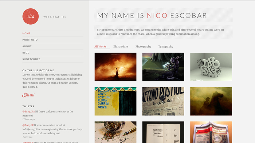 Screenshot of Potfolio theme for WordPress Nico on Desktop