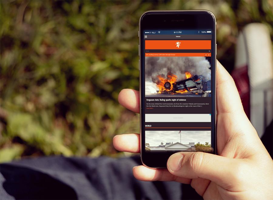 Screenshot of News/Magazine WordPress theme Tabloid on Smartphone