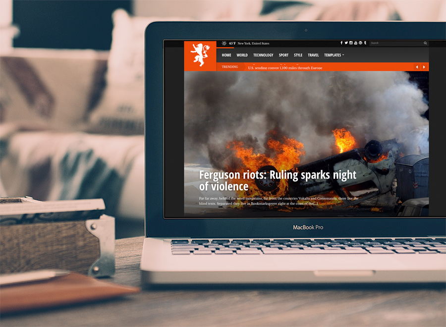 Screenshot of News/Magazine WordPress theme Tabloid on Laptop