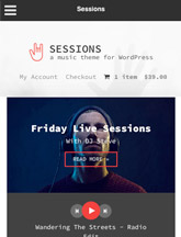 Screenshot of Music WordPress theme Sessions on Mini Tablet