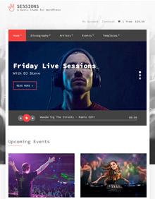 Screenshot of Music WordPress theme Sessions on Tablet