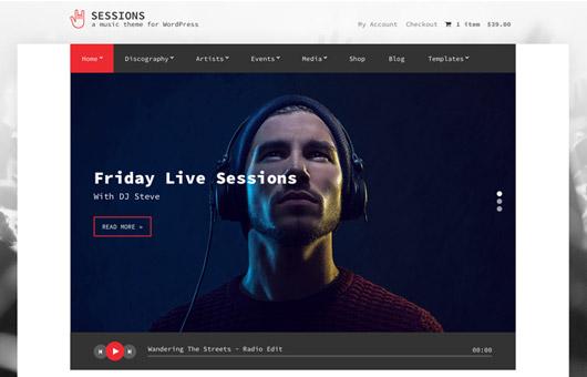 Screenshot of Music WordPress theme Sessions on Laptop