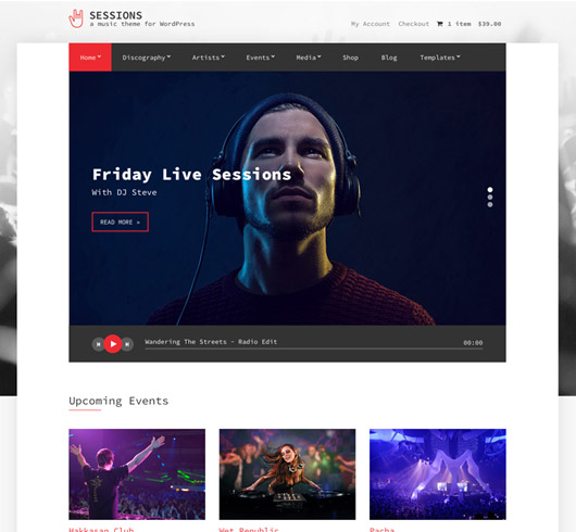 Screenshot of Music WordPress theme Sessions