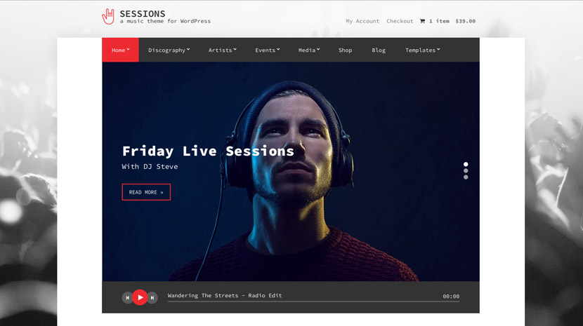 Screenshot of Music WordPress theme Sessions on Desktop