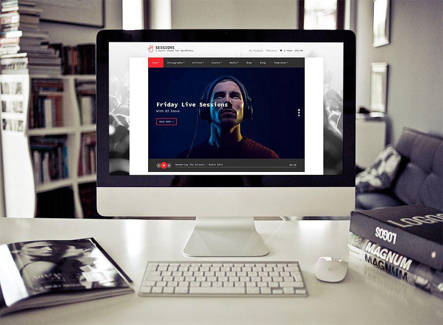 Screenshot of Music WordPress theme Sessions on Desktop