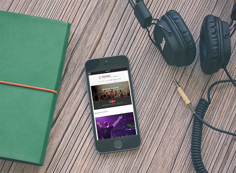Screenshot of Music WordPress theme Sessions on Smartphone