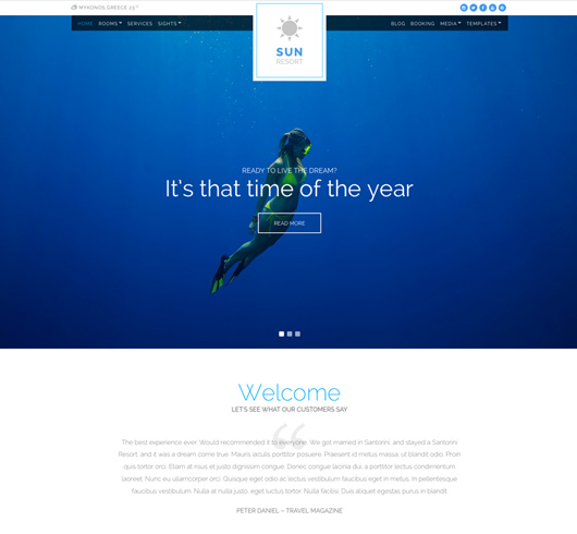 Screenshot of Hotel WordPress theme Sun Resort
