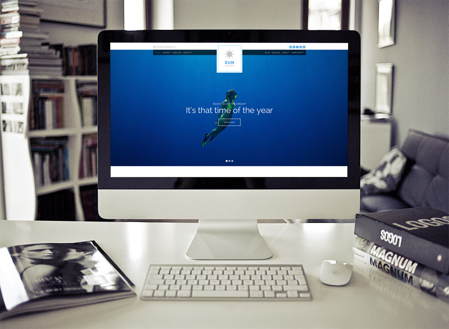 Screenshot of Hotel WordPress theme Sun Resort on Desktop