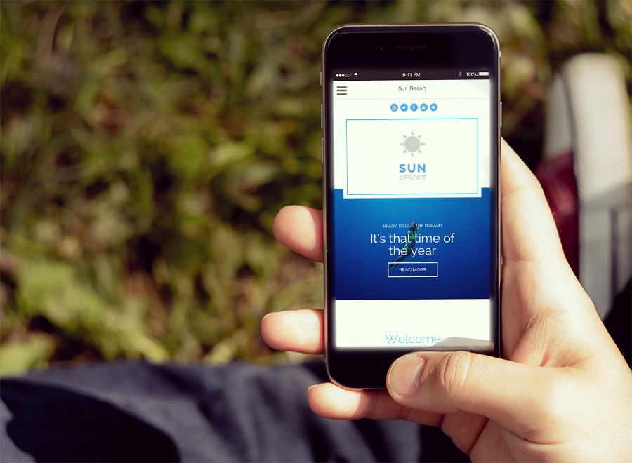 Screenshot of Hotel WordPress theme Sun Resort on Smartphone