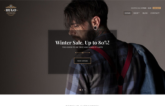 Screenshot of WooCommerce theme for WordPress Hugo on Laptop