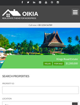 Screenshot of Real Estate WordPress theme Oikia on Mini Tablet