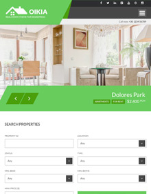 Screenshot of Real Estate WordPress theme Oikia on Tablet