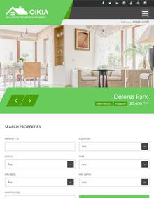 Screenshot of Real Estate WordPress theme Oikia on Tablet