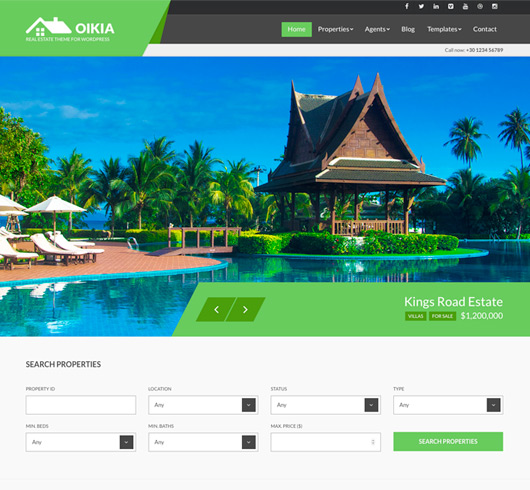 Screenshot of Real Estate WordPress theme Oikia
