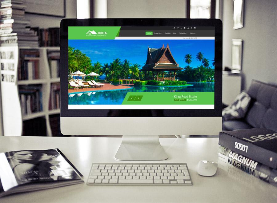 Screenshot of Real Estate WordPress theme Oikia on Desktop