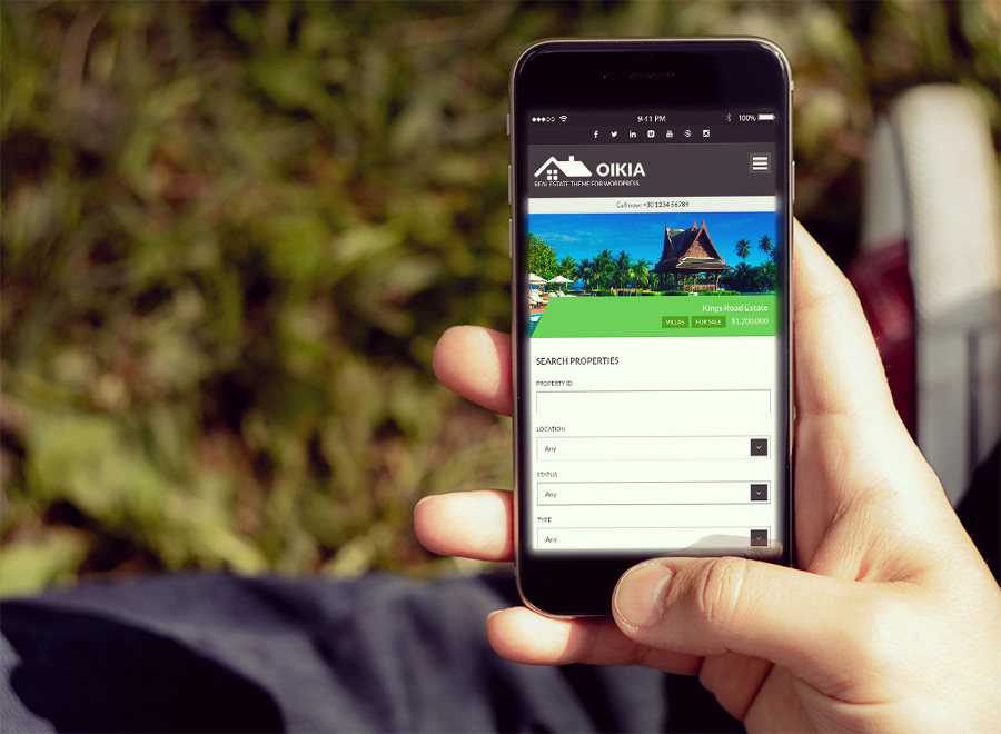 Screenshot of Real Estate WordPress theme Oikia on Smartphone