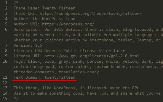 text_domain_stylesheet