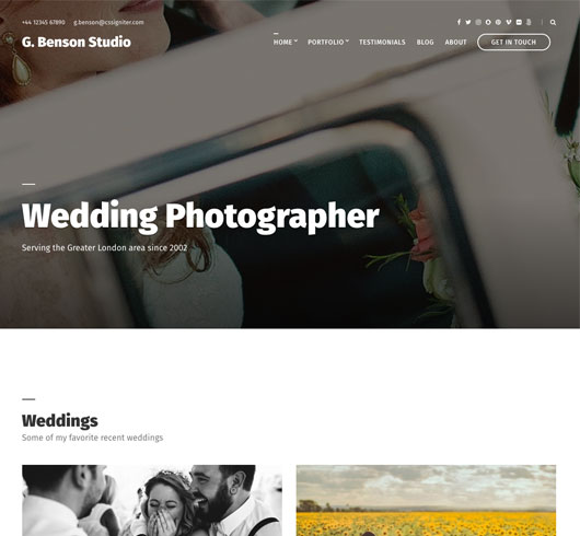 Benson Photography theme for WordPress