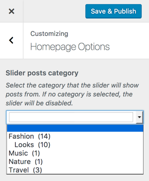 Screenshow of a dropdown categories control