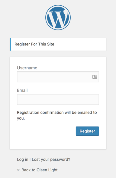 Screenshot of the default WordPress registration form.