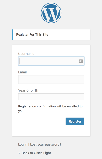 Screenshot of the default WordPress registration form with a Year of birth field