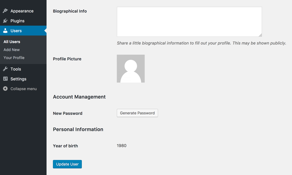Screenshot of the user profile screen showing the year of birth.