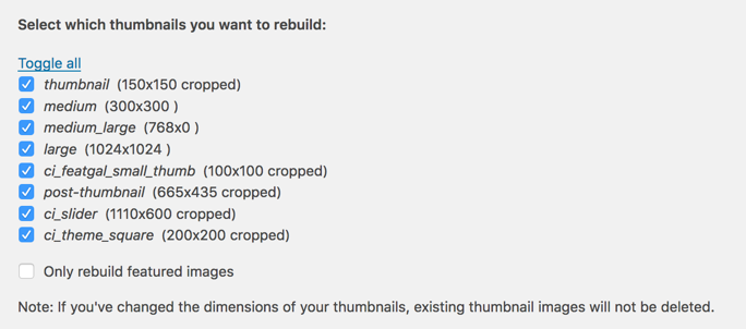 Screenshot of the AJAX Thumbnail Rebuild plugin