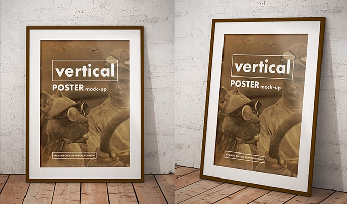 25 Free Realistic Wall Frame and Poster Mockups PSD