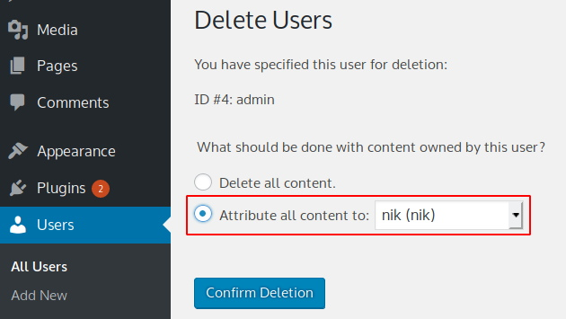 How to remove the default admin username in WordPress