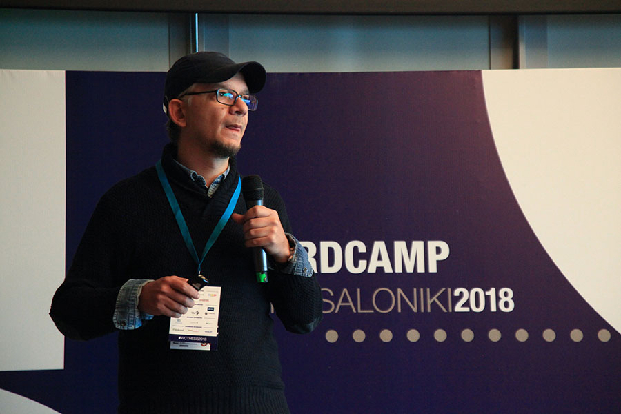 Gerasimos speaking at WordCamp Thessaloniki 2018