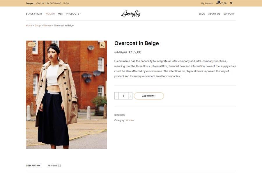 Minimal layout - Amaryllis WooCommerce theme